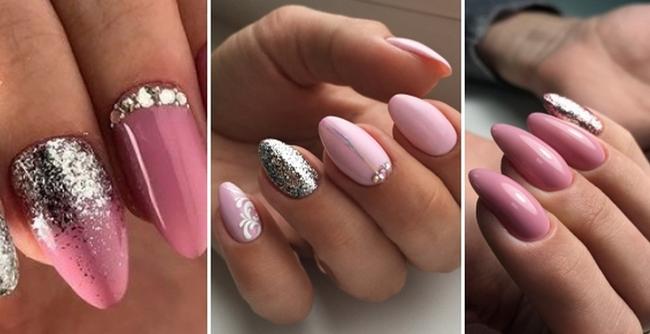 Дизайн ногтей нюд с блестящим декором
